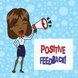 Word het schrijven tekst Positieve Terugkoppeling Bedrijfsconcept voor goede en grote commentaren die uit tevreden klanten komen stock illustratie