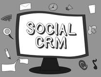 Word het schrijven tekst Sociale Crm Bedrijfsdieconcept voor Klantrelatieanalysisagement wordt gebruikt om met klanten in dienst  royalty-vrije illustratie