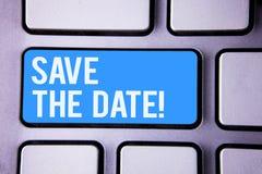 Word het schrijven tekst sparen de Datum Motievenvraag Bedrijfsconcept voor Remember om eender wat niet te plannen die tijd stock foto's