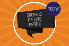 Word het schrijven tekst Sugar Is een Witte Dood Het bedrijfsconcept voor Snoepjes is gevaarlijk diabetes waakzaam ongezond voeds royalty-vrije illustratie