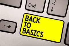 Word het schrijven tekst terug naar Grondbeginselen Bedrijfsconcept voor Fundamenteel Essentieel Primair de basistoetsenbord geel royalty-vrije stock afbeeldingen