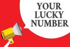 Word het schrijven tekst Uw Lucky Number Bedrijfsconcept voor het geloven in het Casino van de de Verhogingskans van het brievenf royalty-vrije illustratie