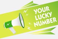Word het schrijven tekst Uw Lucky Number Bedrijfsconcept voor het geloven in van de de Verhogingskans van het brievenfortuin van  Stock Fotografie