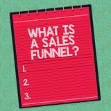 Word het schrijven tekst wat een Verkooptrechter is Bedrijfsconcept voor Develop een marketing reclame het verkopen Gevoerde meth stock illustratie