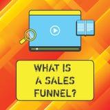 Word het schrijven tekst wat een Verkooptrechter is Bedrijfsconcept voor Develop een marketing Tablet van de reclame verkopende m vector illustratie