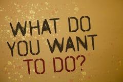 Word het schrijven tekst wat u Vraag willen doen Het bedrijfsconcept voor Meditate ontspant bruine de berichten van Desire Ideas  stock fotografie