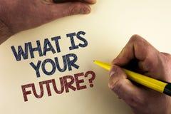 Word het schrijven tekst wat Uw Toekomstige Vraag is Bedrijfsconcept voor waar u zich in de volgende die jaren ziet door de mens  stock foto