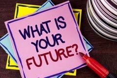 Word het schrijven tekst wat Uw Toekomstige Vraag is Bedrijfsconcept voor waar u zich in de volgende die jaren ziet op Roze S wor stock foto