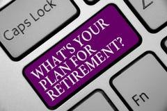 Word het schrijven tekst Welk s Uw Plan voor Pensioneringsvraag is Het bedrijfsconcept voor de Bejaarden van het Besparingenpensi stock fotografie