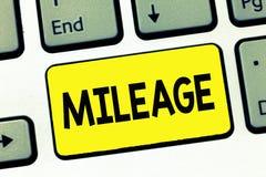 Word het schrijven tekstafstand in mijlen Het bedrijfsconcept voor Aantal mijlen reiste of behandelde de Autoinstrument van het V stock afbeelding