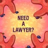 Word het schrijven tekstbehoefte een Lawyerquestion Bedrijfsconcept voor het Zoeken van juridisch advies of het voorbereiden van  royalty-vrije illustratie