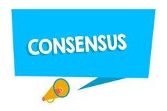 Word het schrijven tekstconsensus Bedrijfsconcept voor consensus over bijzondere onderworpen gebeurtenis of actie Rechthoekige Sp royalty-vrije illustratie