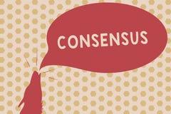 Word het schrijven tekstconsensus Bedrijfsconcept voor consensus over bijzondere onderworpen gebeurtenis of actiecontour stock illustratie