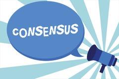 Word het schrijven tekstconsensus Bedrijfsconcept voor consensus over bijzondere onderworpen gebeurtenis of actiemegafoon royalty-vrije illustratie