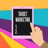 Word het schrijven tekstdoel Marketing Bedrijfsconcept voor klanten die van Publieks de doel Gekozen cliënten Vrouwelijke Hand ad vector illustratie