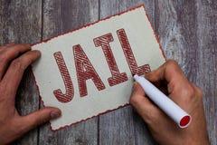 Word het schrijven tekstgevangenis Bedrijfsdieconcept voor Plaats voor de beperking van mensen wegens een misdaad worden beschuld royalty-vrije stock afbeeldingen