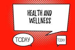 Word het schrijven tekstgezondheid en Wellness Bedrijfsconcept voor staat van volledig fysiek, geestelijk en sociaal welzijn stock illustratie