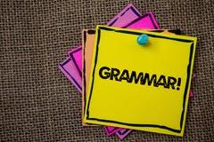 Word het schrijven tekstgrammatica Motievenvraag Bedrijfsconcept voor Systeem en Structuur van Taal het Schrijven Regelsdocumente Royalty-vrije Stock Foto's