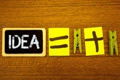 Word het schrijven tekstidee Bedrijfsconcept voor Creatief Innovatief het Denken Verbeeldingsontwerp de Ideeënbord c van Planning stock foto