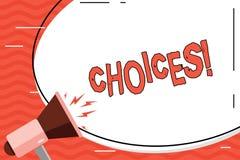 Word het schrijven tekstkeuzen Het bedrijfsconcept voor de Neiging van de Voorkeurdiscretie onderscheidt Optiesselectie stock illustratie