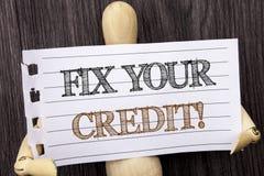 Word, het schrijven, tekstmoeilijke situatie Uw Krediet De conceptuele Classificatie Avice Fix Improvement Repair van de foto Sle royalty-vrije stock foto