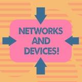 Word het schrijven tekstnetwerken en Apparaten Bedrijfsconcept voor gebruikt om computers of andere elektronische apparaten aan t royalty-vrije illustratie