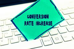 Word het schrijven tekstomzetting Rate Increase Bedrijfsconcept voor Verhouding van Totale Bezoekers die gewenste acties uitvoere stock afbeeldingen