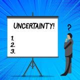 Word het schrijven tekstonzekerheid Bedrijfsconcept voor Onvoorspelbaarheid van bepaalde het gedragszakenman van situatiesgebeurt royalty-vrije illustratie