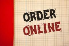 Word het schrijven tekstorde online Bedrijfsconcept voor Aankoop iets op Internet-Elektronische handel het Draadloze winkelen stock afbeelding