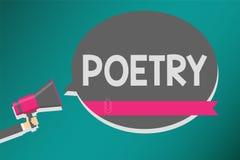 Word het schrijven tekstpoëzie Bedrijfsconcept voor het literaire werk waarin uitdrukking van gevoel en ideeën die de ritmemens g vector illustratie