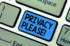 Word het schrijven tekstprivacy tevreden Het bedrijfsconcept voor zijn Stille Ontspannen Rust stoort Toetsenbord geen zeer belang stock afbeelding