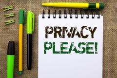 Word het schrijven tekstprivacy tevreden Motievenvraag Het bedrijfsconcept voor zijn Stille Ontspannen Rust stoort niet geschreve royalty-vrije stock afbeelding