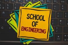 Word het schrijven tekstschool van Techniek Bedrijfsconcept voor universiteit aan studie mechanische communicatie onderwerpen Vee stock fotografie