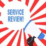 Word het schrijven tekstserviceoverzicht Het bedrijfsconcept voor een optie voor klanten om een bedrijf s te schatten is de diens stock illustratie