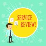 Word het schrijven tekstserviceoverzicht Het bedrijfsconcept voor een optie voor klanten om een bedrijf s te schatten is de diens vector illustratie