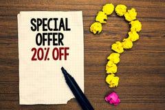 Word het schrijven tekstspeciale aanbieding 20 weg Bedrijfsconcept voor de Verkoop van de Kortingenbevordering Kleinhandels Marke royalty-vrije stock fotografie