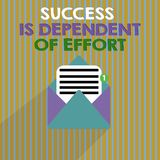Word het schrijven het tekstsucces is Afhankelijk van Inspanning Het bedrijfsconcept voor levert inspanning om Blijvend Verblijf  stock illustratie