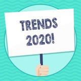 Word het schrijven teksttendensen 2020 Bedrijfsconcept voor algemene richting waarin iets ontwikkelt of Hand verandert vector illustratie