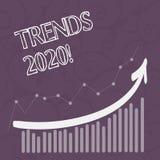 Word het schrijven teksttendensen 2020 Bedrijfsconcept voor algemene richting waarin iets zich ontwikkelt of verandert vector illustratie