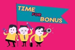 Word het schrijven teksttijd voor Bonus Het bedrijfsconcept voor een som geld voegde aan de lonen van een persoon toe als belonin royalty-vrije illustratie