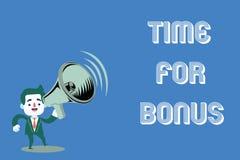 Word het schrijven teksttijd voor Bonus Het bedrijfsconcept voor een som geld voegde aan persoons\ 's lonen toe als beloning royalty-vrije illustratie
