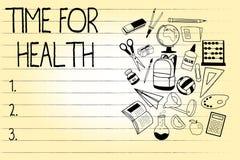 Word het schrijven teksttijd voor Gezondheid Bedrijfsconcept voor het aanmoedigen van iemand beginnen gezonde food do sport te et Royalty-vrije Illustratie