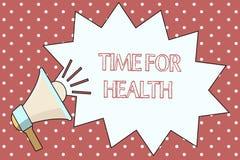 Word het schrijven teksttijd voor Gezondheid Bedrijfsconcept voor het aanmoedigen van iemand beginnen gezonde food do sport te et Stock Illustratie
