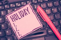 Word het schrijven tekstvakantie Bedrijfsconcept voor Lange periode van de dagen van de de Vakantieviering van de vrije tijdsrecr stock fotografie