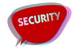 Word het schrijven tekstveiligheid Bedrijfsconcept voor de staat van het voelen van veilige stabiel en vrij van vrees of gevaars  royalty-vrije illustratie