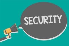 Word het schrijven tekstveiligheid Bedrijfsconcept voor de staat van het voelen van veilige stabiel en vrij van vrees of gevaarsm vector illustratie