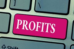 Word het schrijven tekstwinsten Bedrijfsconcept voor Financieel gewinverschil tussen verdiend en besteed bedrag Inkomen stock afbeeldingen