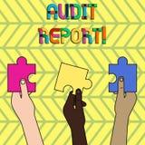 Word het schrijven het Verslag van de tekstcontrole Bedrijfsconcept voor Geschreven advies van een auditor over bedrijven financi royalty-vrije illustratie