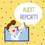 Word het schrijven het Verslag van de tekstcontrole Bedrijfsconcept voor Geschreven advies van een auditor over de Mens van de be stock illustratie