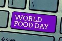 Word het schrijven het Voedseldag van de tekstwereld Bedrijfsconcept voor Werelddag van actie gewijd aan het aanpakken van global stock foto